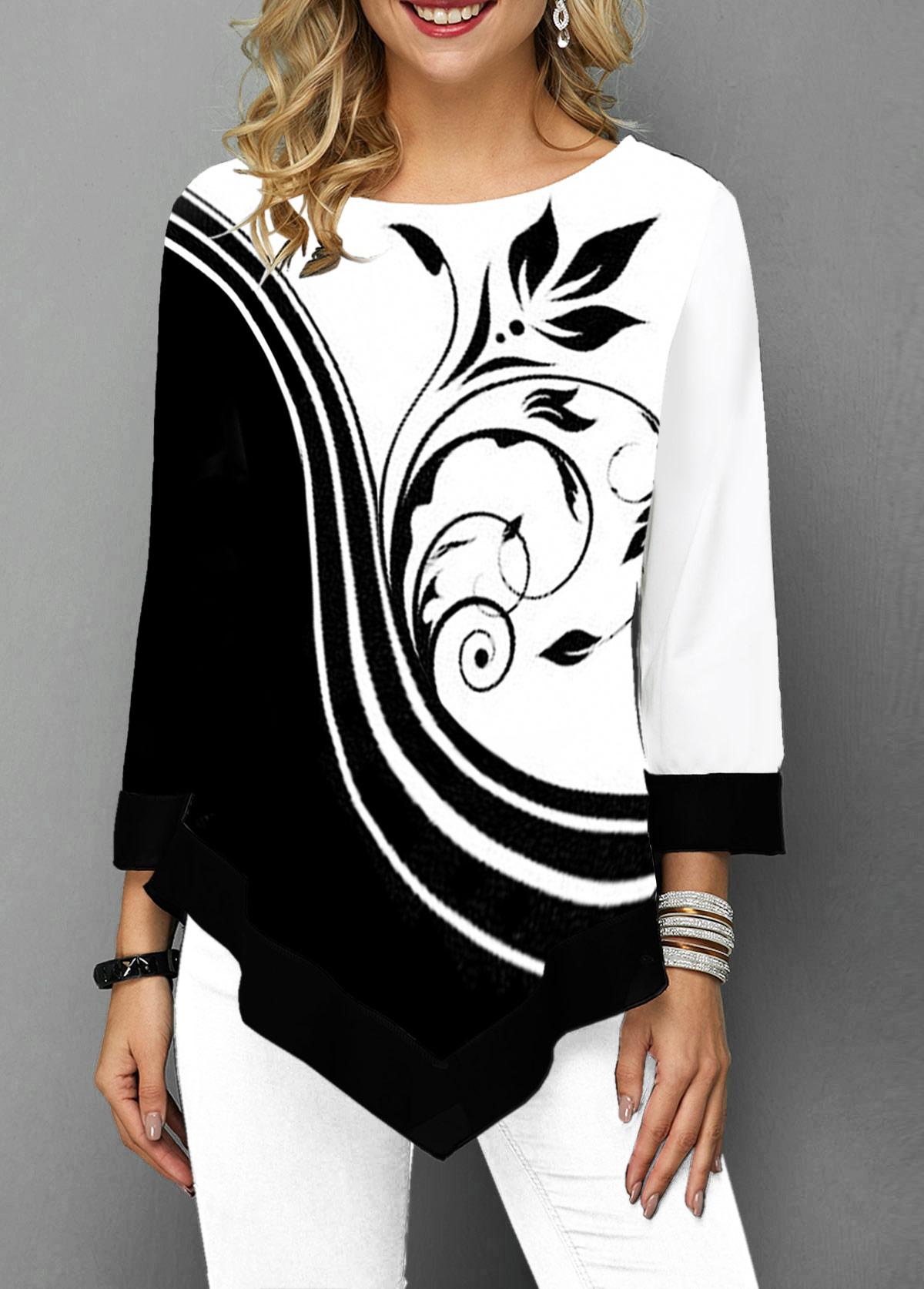 Flower Print Asymmetric Hem Three Quarter Sleeve T Shirt
