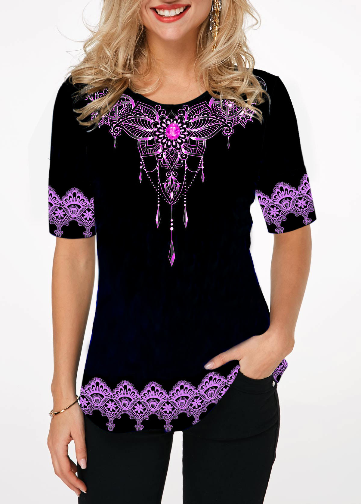 Rhinestone Embellished Tribal Print Round Neck T Shirt