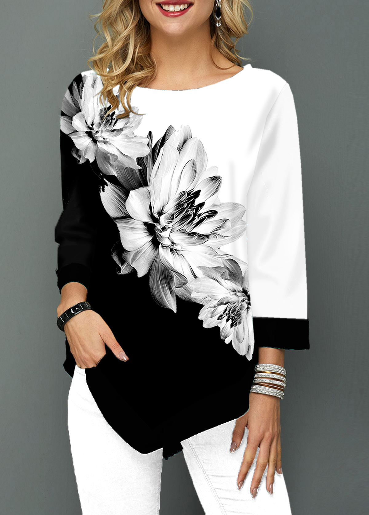 Three Quarter Sleeve Flower Print Asymmetric Hem T Shirt