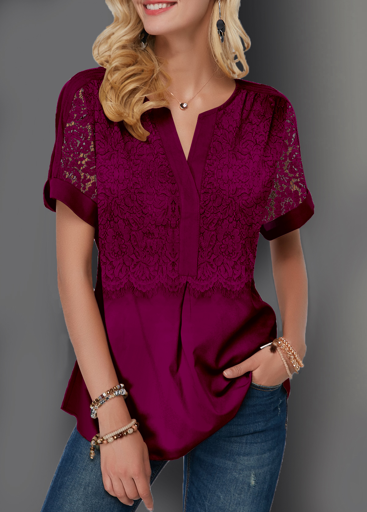Lace Patchwork Short Sleeve Split Neck Blouse