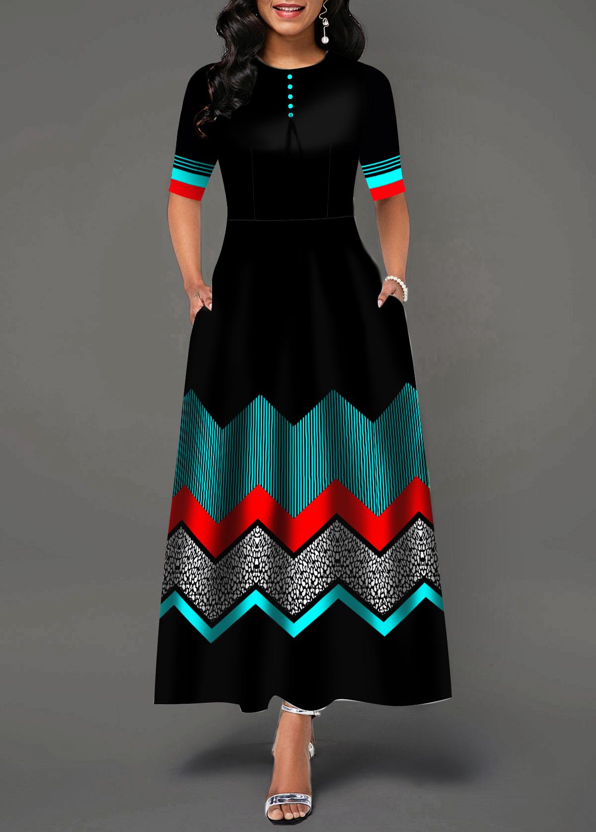 Button Detail Color Block Chevron Print Dress