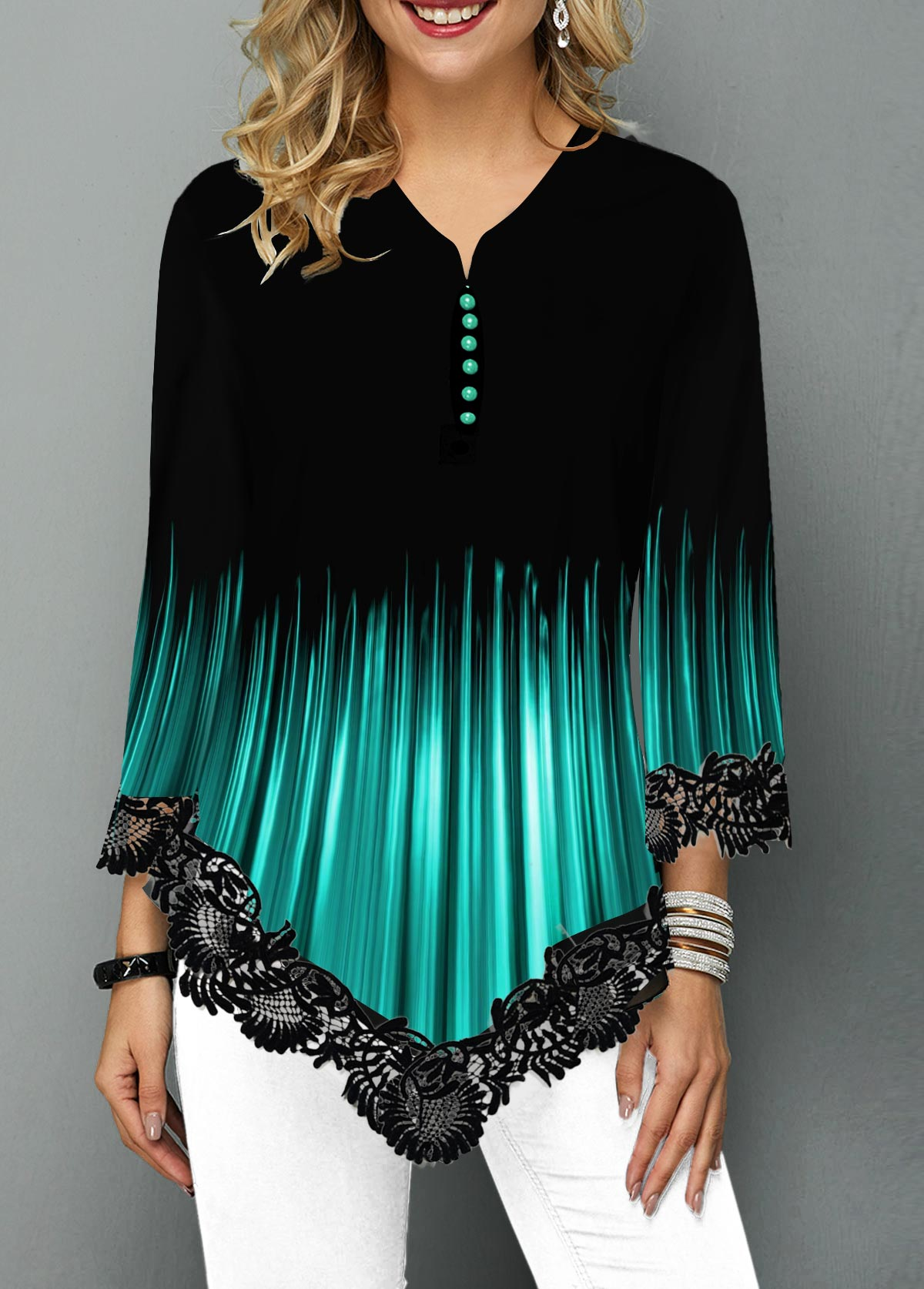 Gradient Asymmetric Hem Lace Panel Blouse