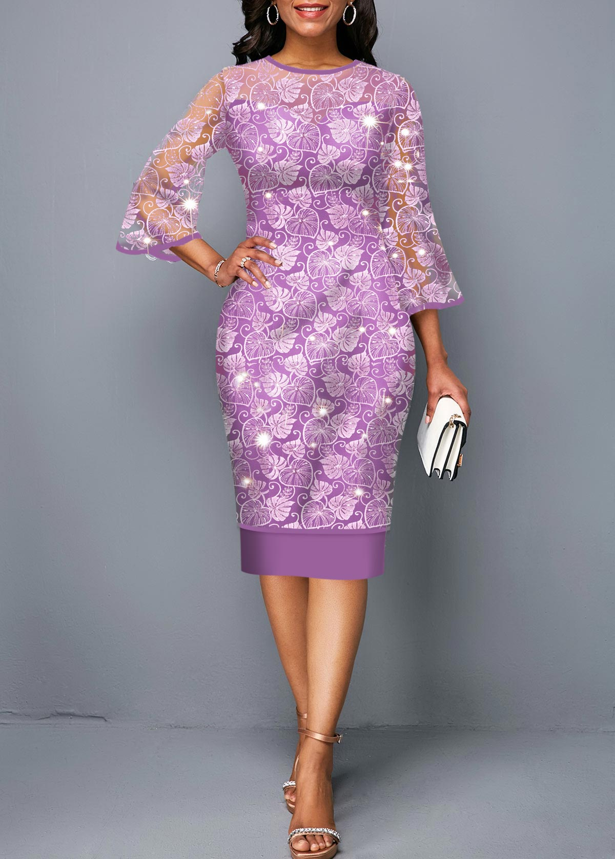 Purple Three Quarter Sleeve Round Neck Lace Dress