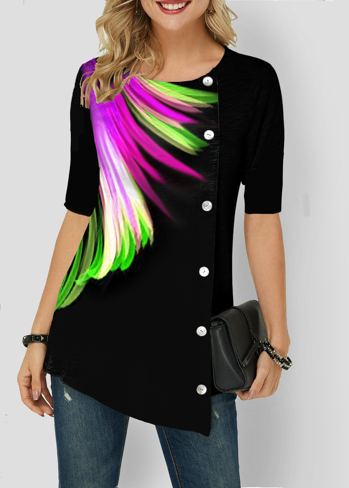 Asymmetric Hem Button Detail Feather Print T Shirt