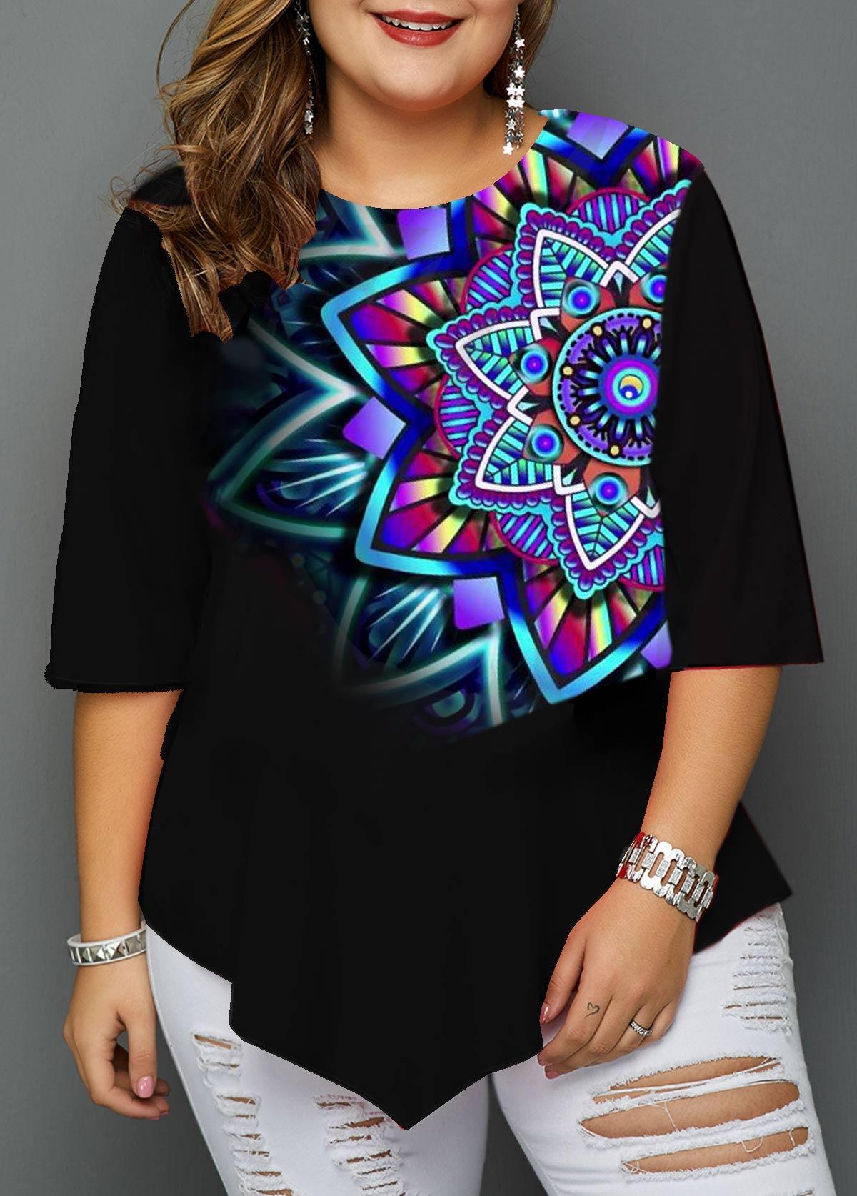 Plus Size Asymmetric Hem Tribal Print T Shirt