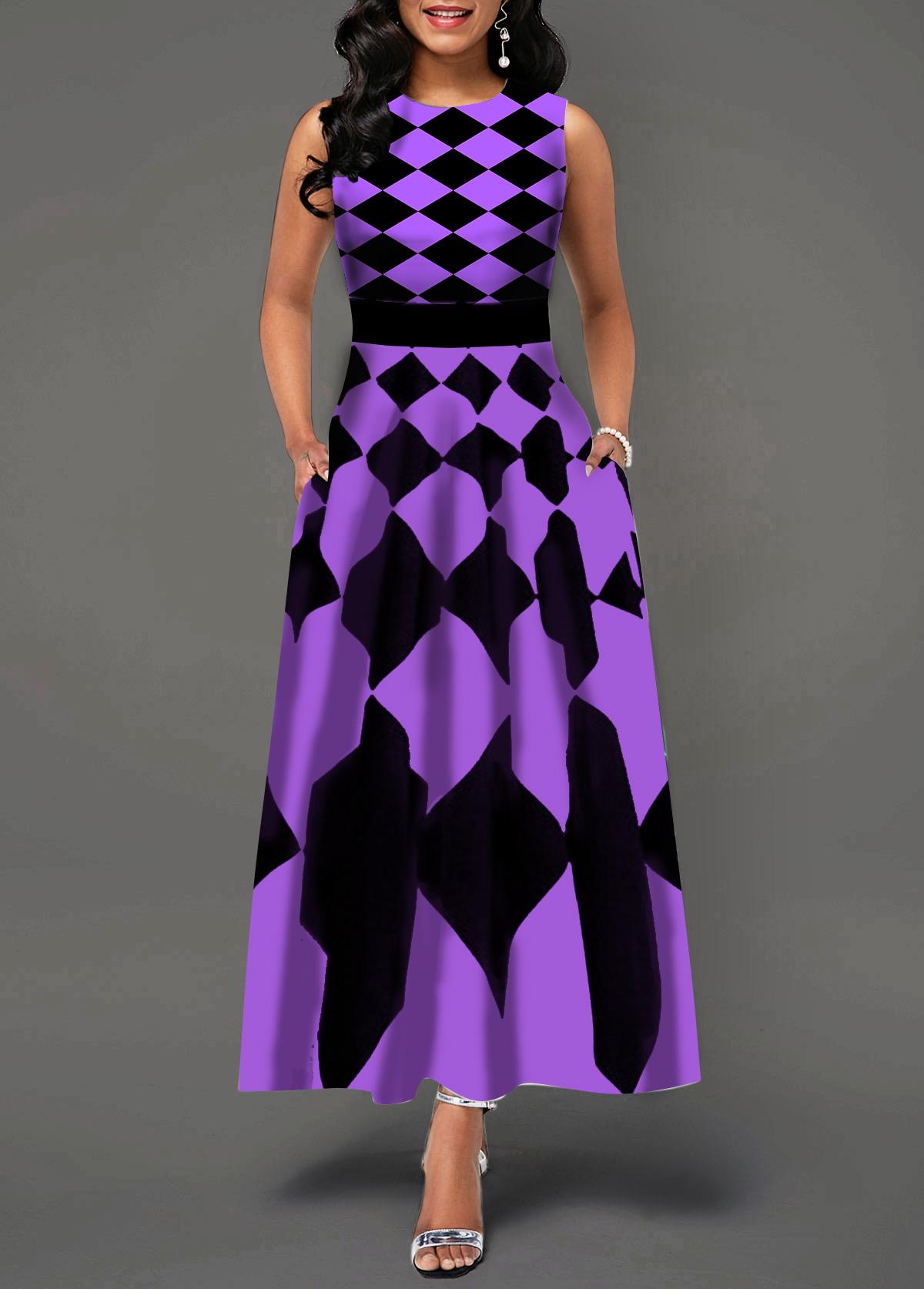 Sleeveless Round Neck Plaid Print Maxi Dress