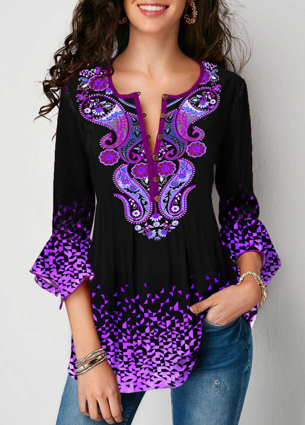 Gradient Flare Cuff Tribal Print Blouse