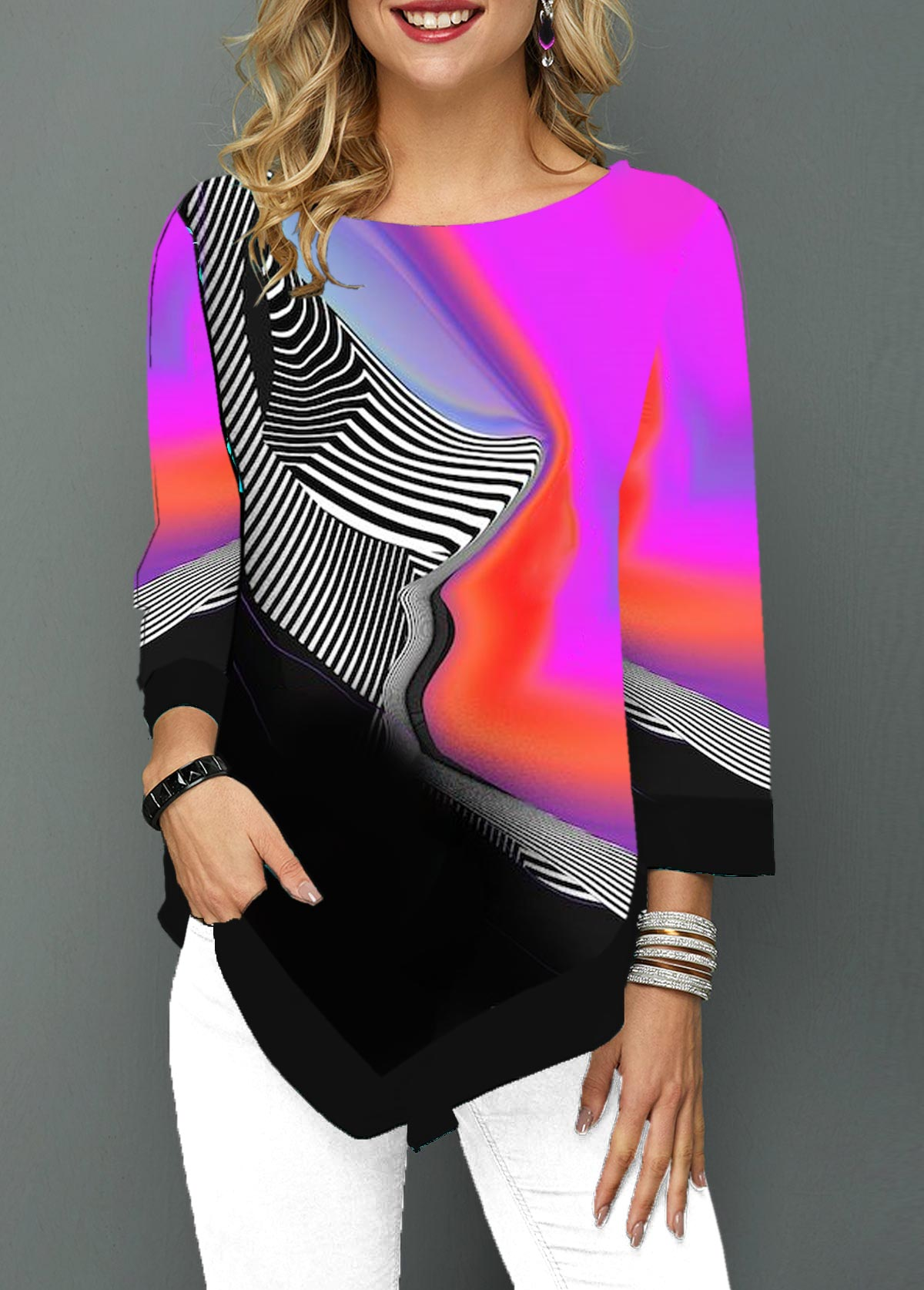 Round Neck Geometric Print Asymmetric Hem T Shirt