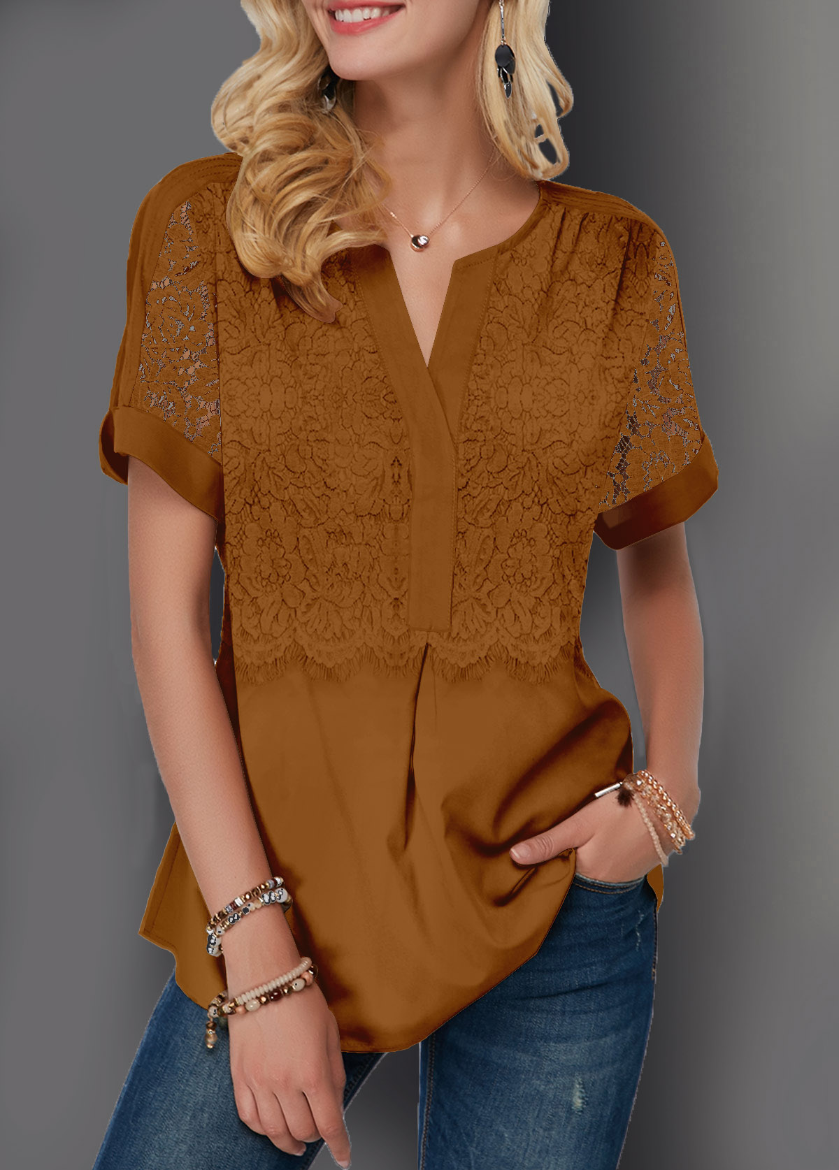 Short Sleeve Notch Neck Lace Panel Blouse