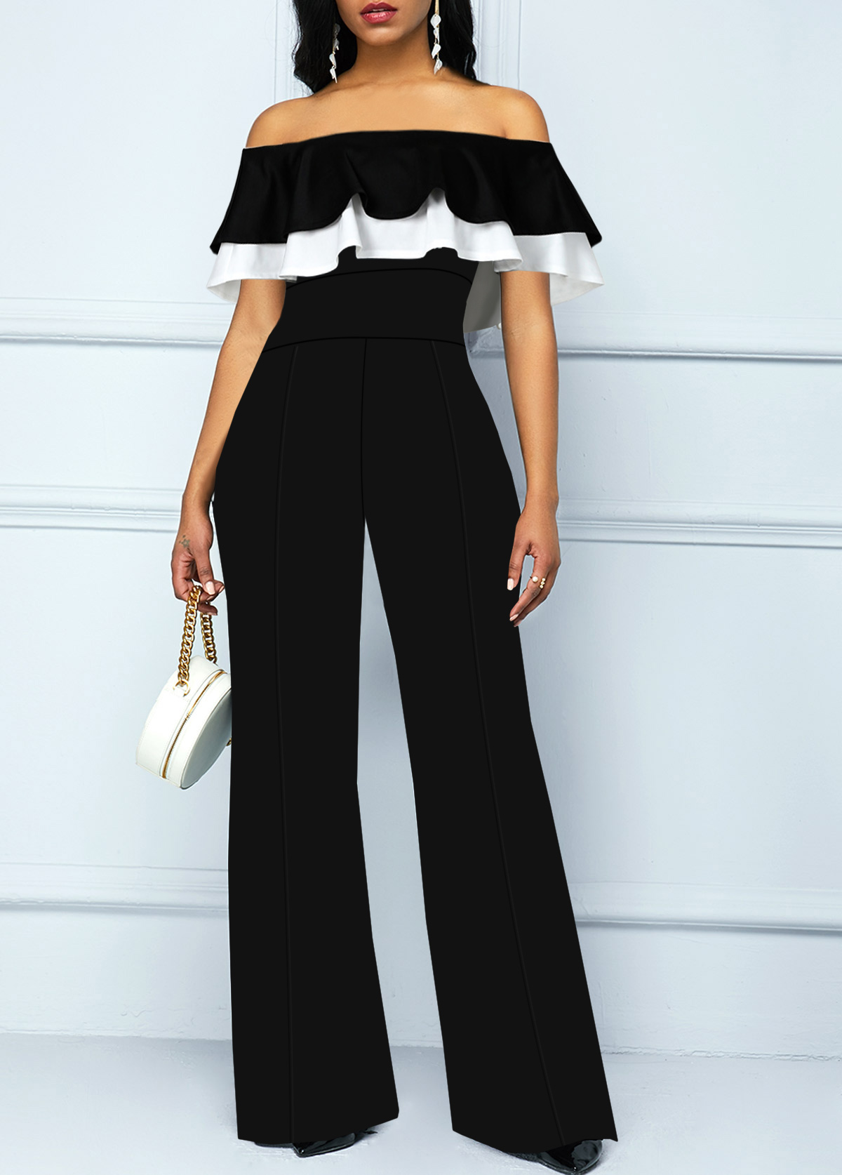 Black Ruffle Overlay Off the Shoulder Jumpsuit