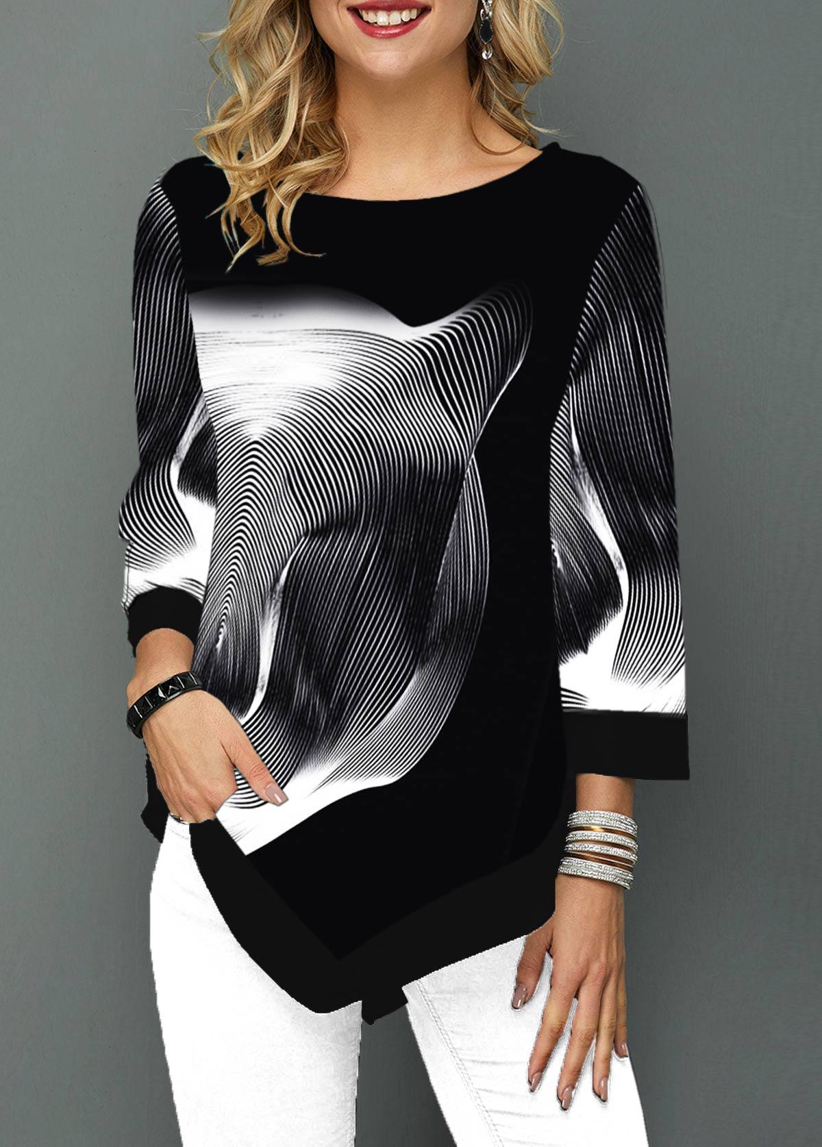 Three Quarter Sleeve Printed Asymmetric Hem T Shirt
