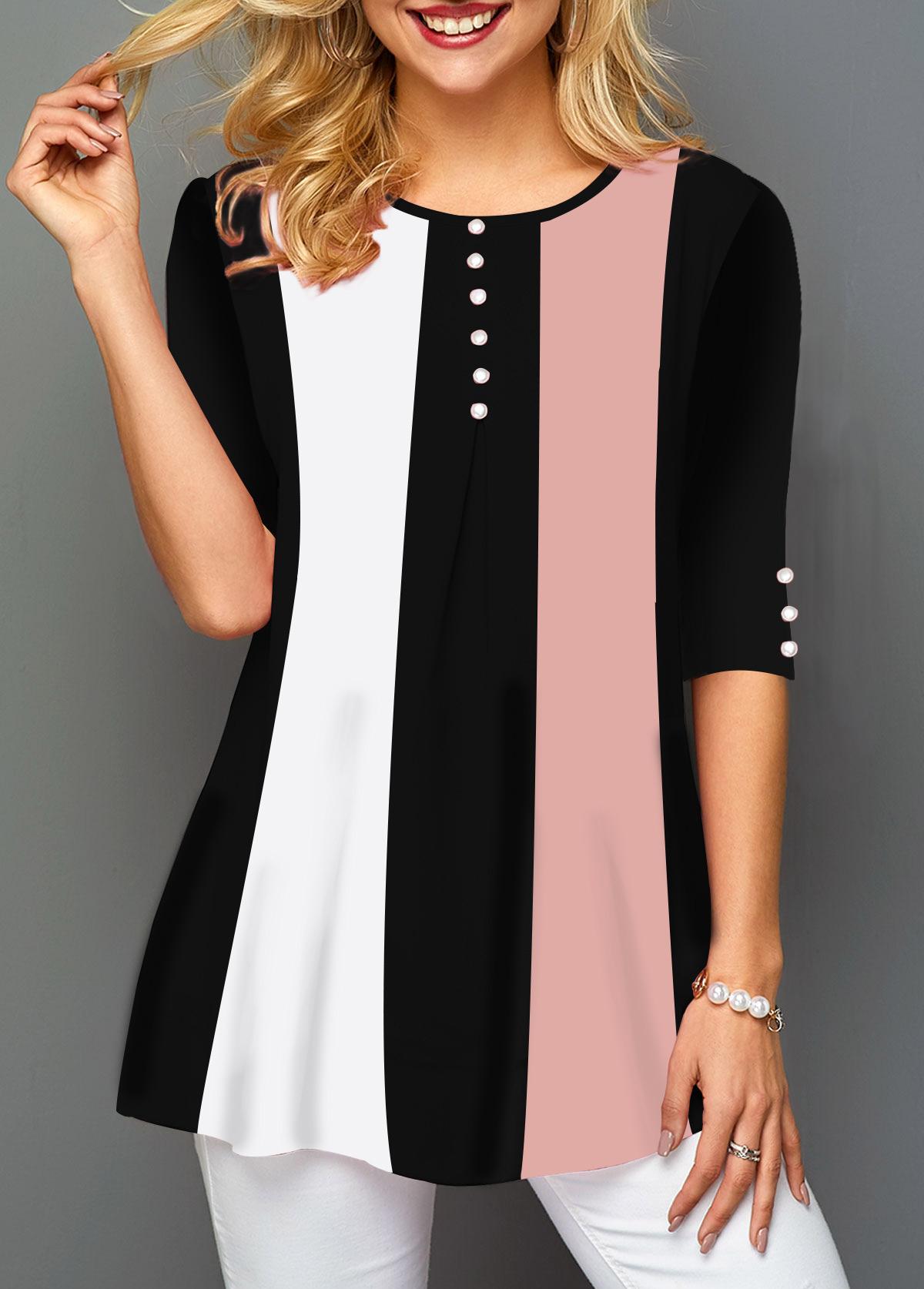 Half Sleeve Round Neck Button Embellished T Shirt