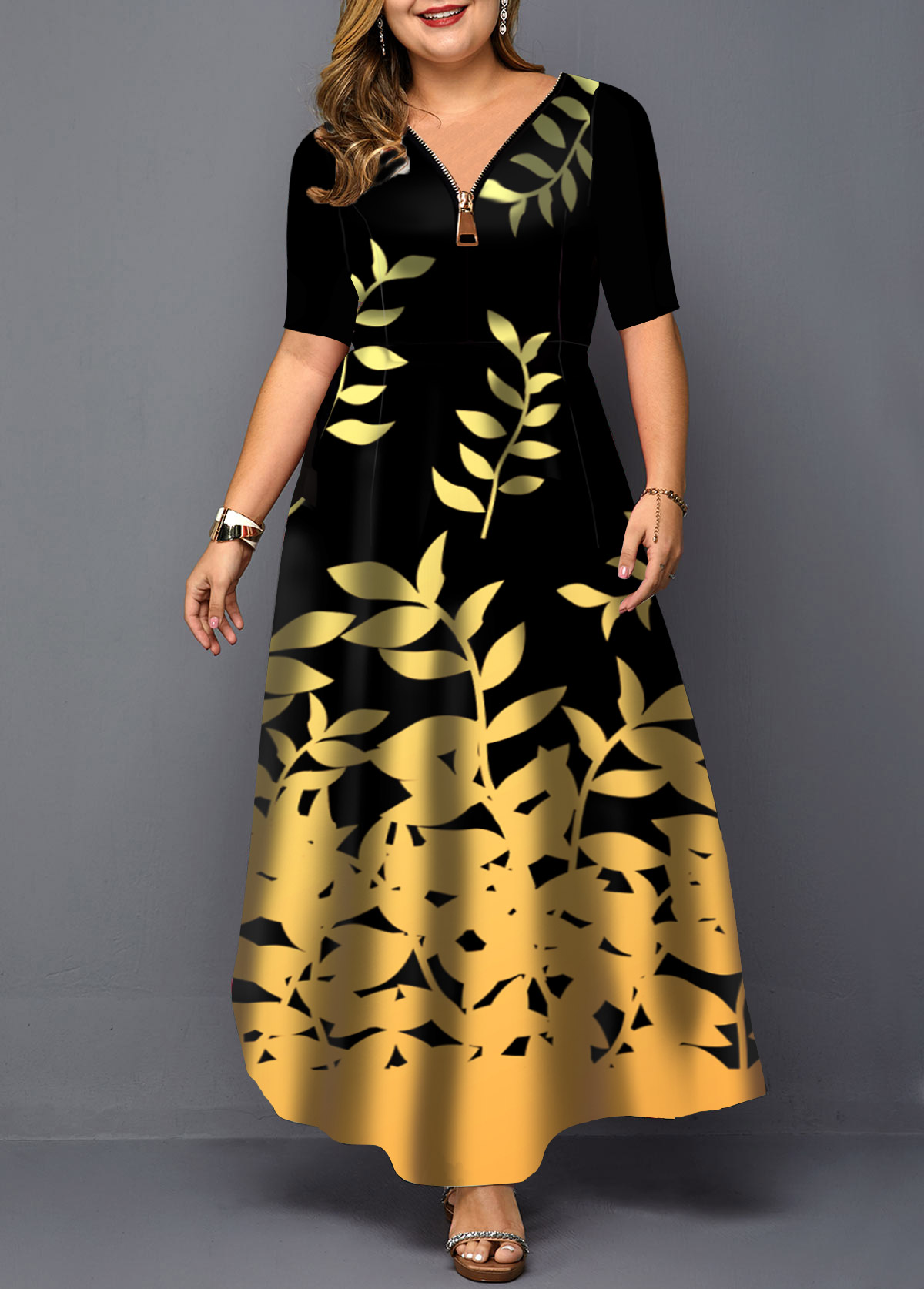 Leaf Print Zipper Detail Plus Size Maxi Dress