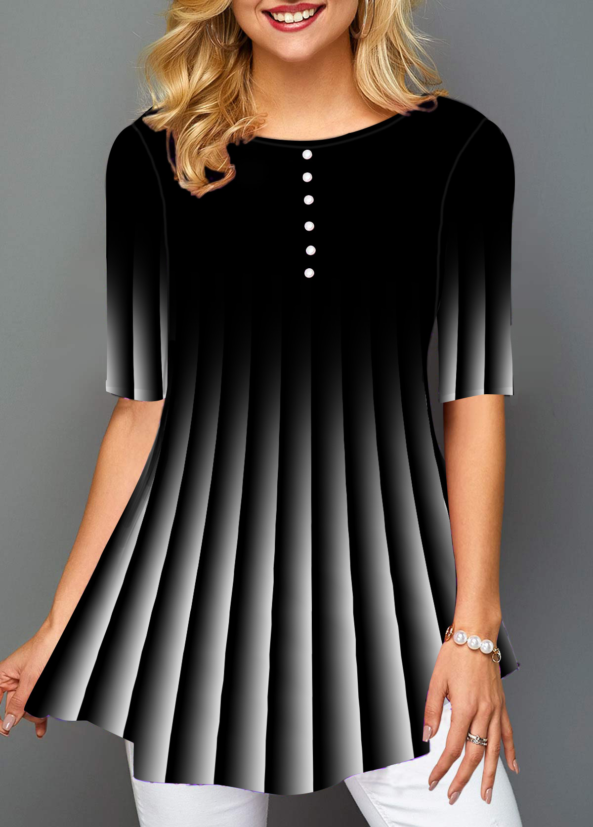 Button Detail Gradient Stripe Print T Shirt