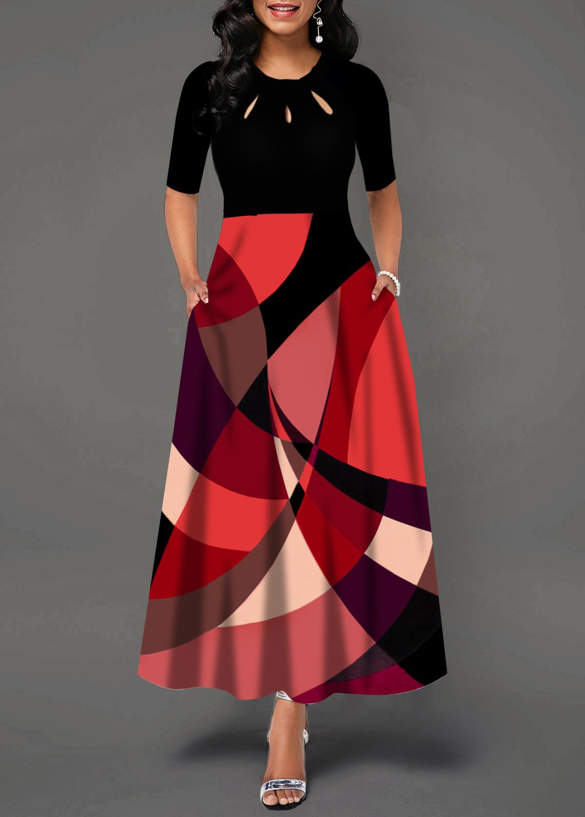 Half Sleeve Geometric Print Pocket Detail Maxi Dress
