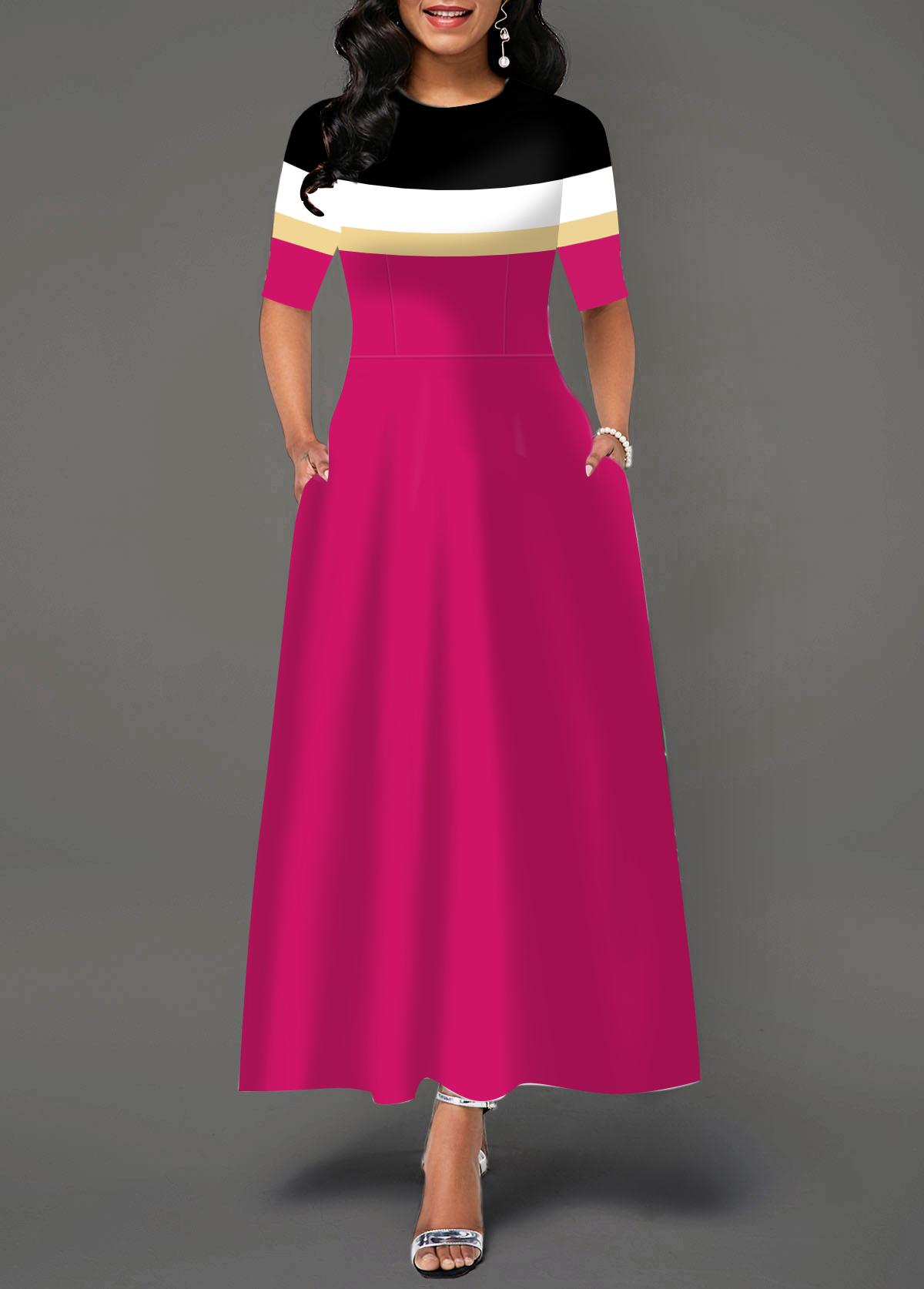 Pocket Round Neck Color Block Dress