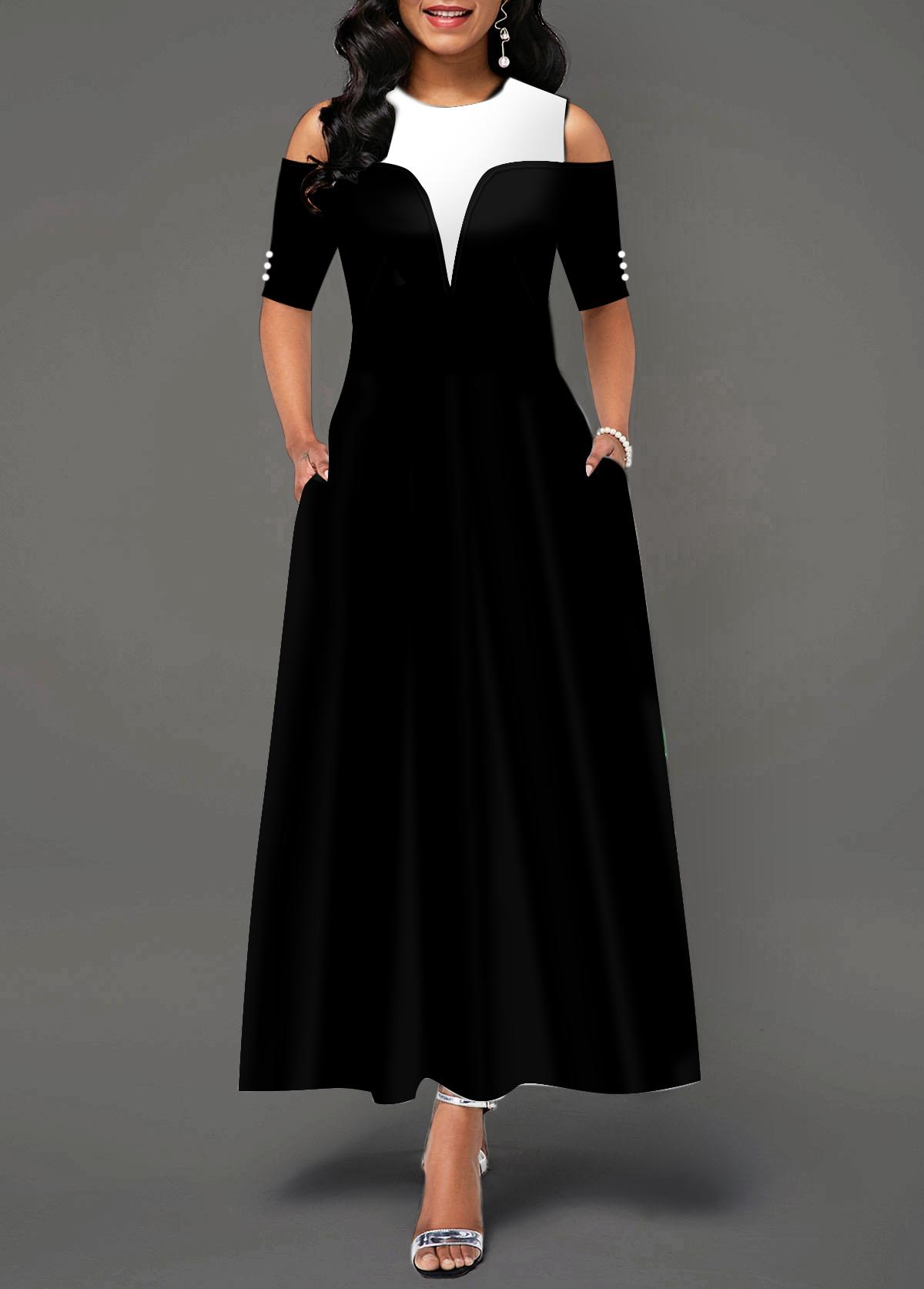 Button Detail Cold Shoulder Half Sleeve Maxi Dress