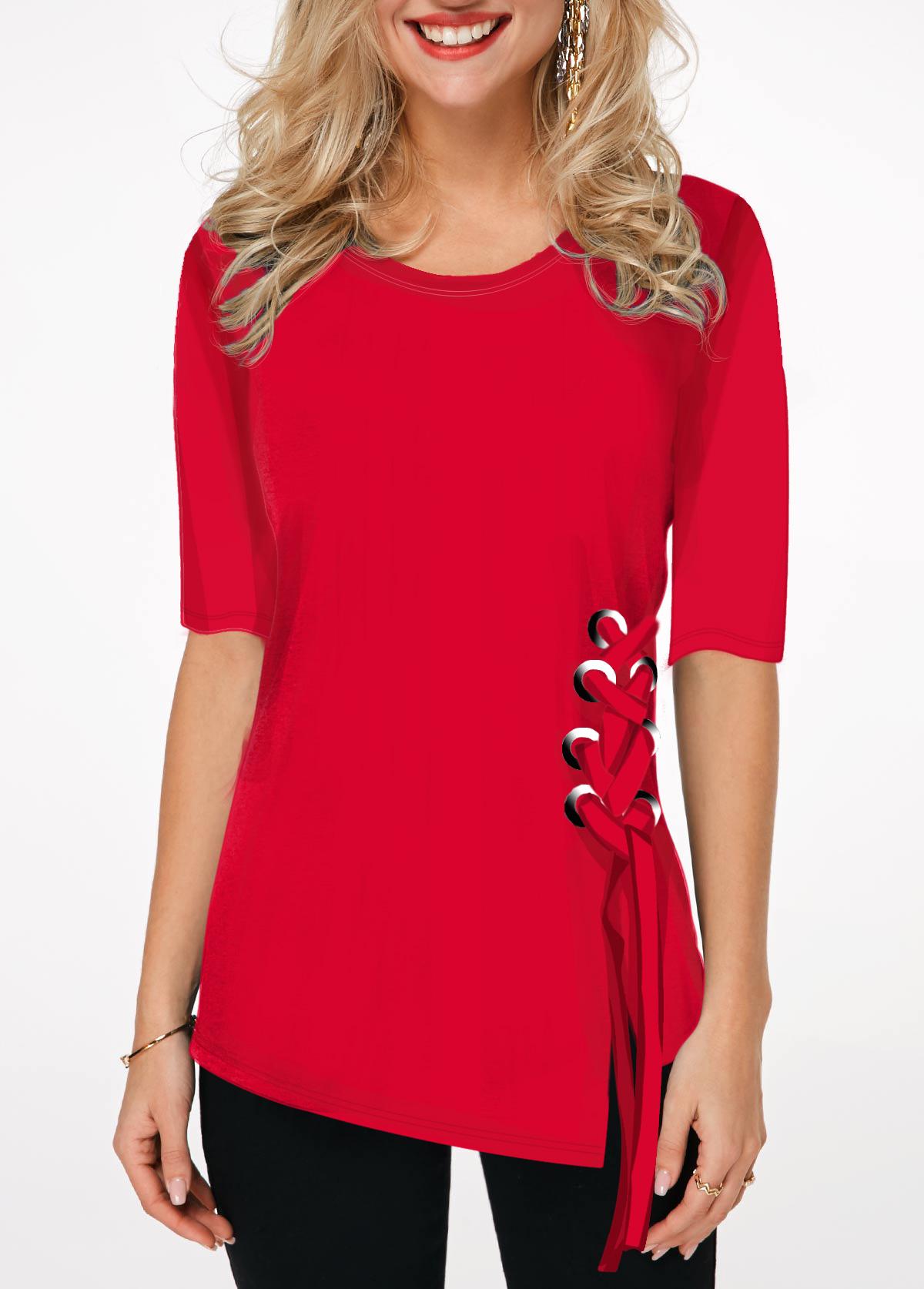 Half Sleeve Round Neck Red T Shirt