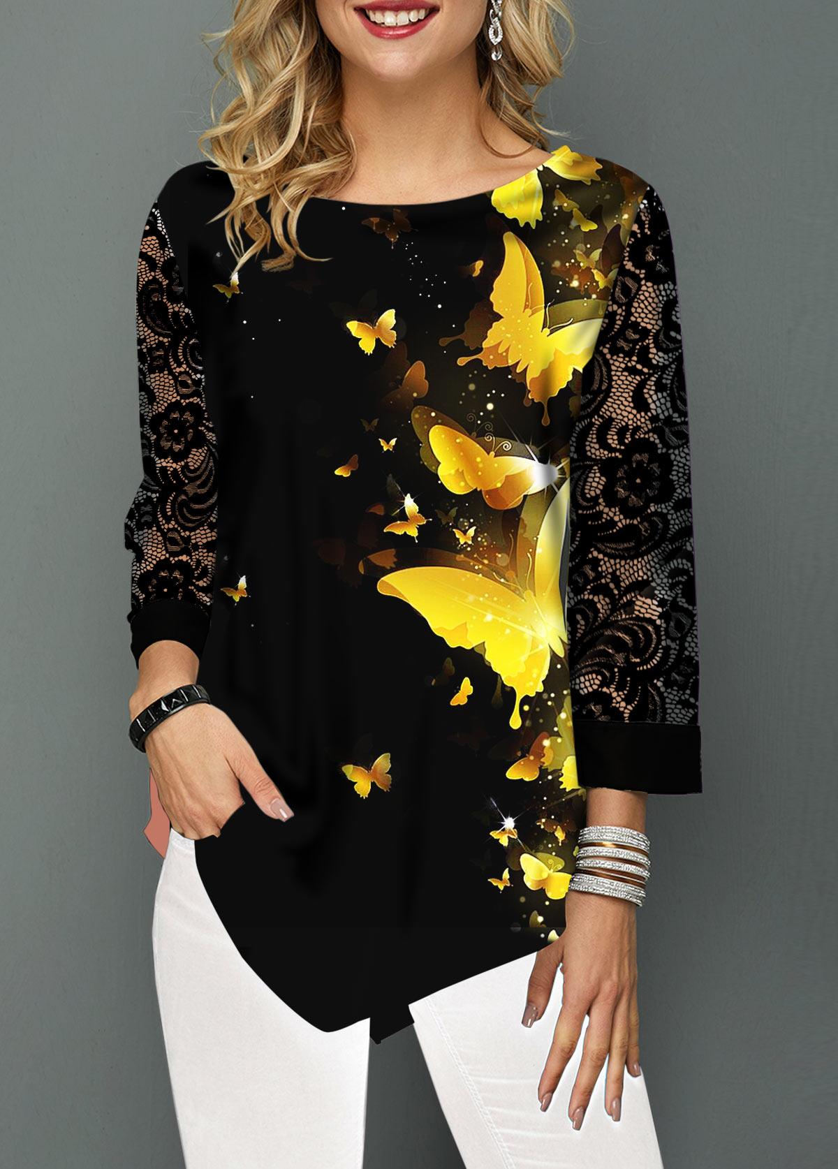Asymmetric Hem Butterfly Print Lace Panel Blouse