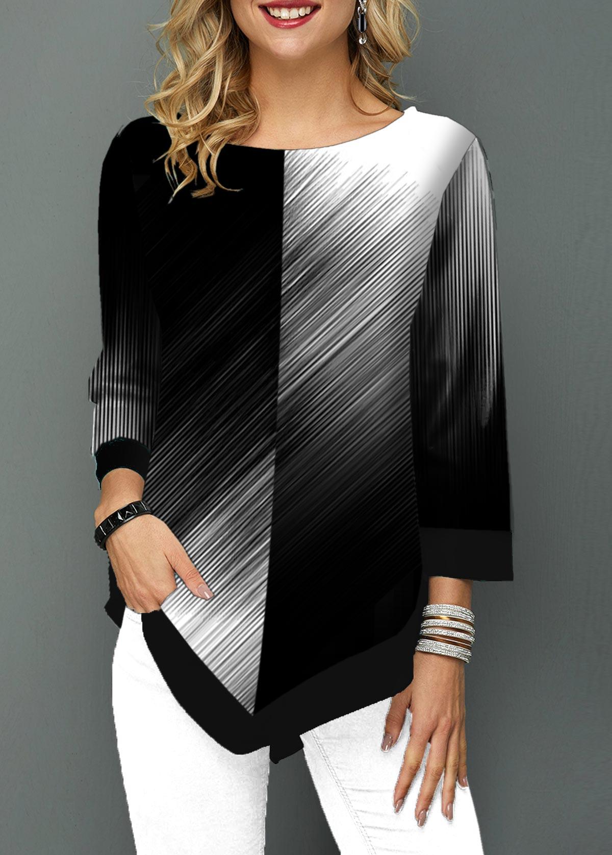 Round Neck Color Block Asymmetric Hem T Shirt