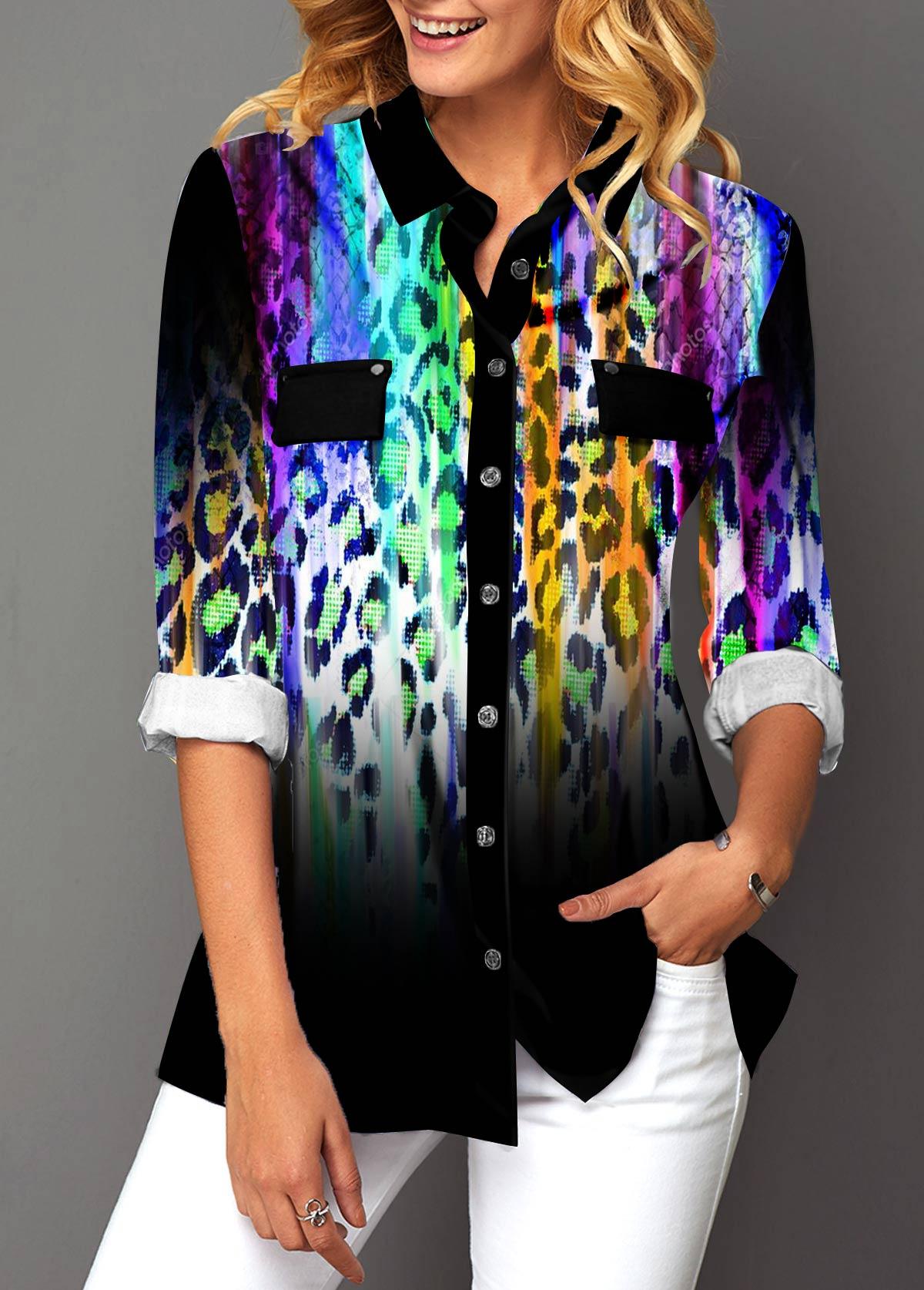Leopard Print Turndown Collar Button Up Gradient Blouse