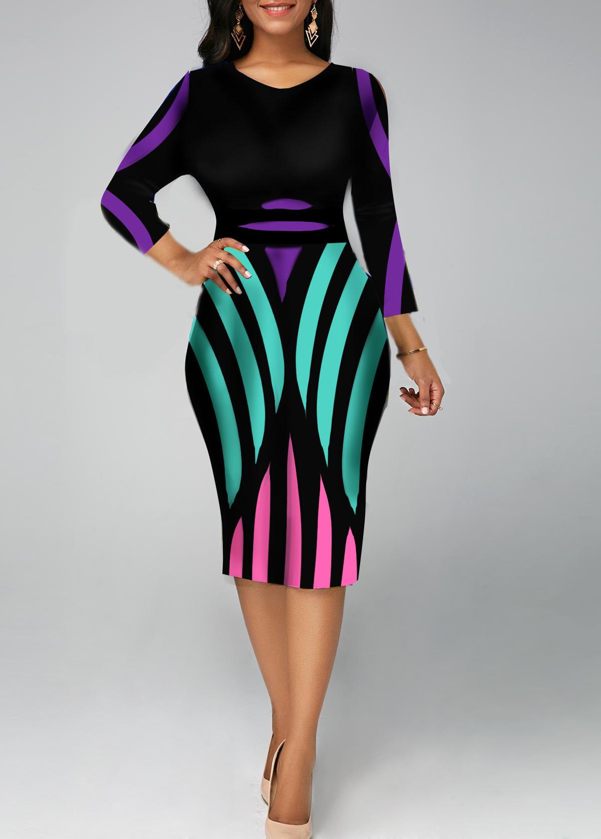 Three Quarter Sleeve Stripe Print V Neck Sheath Dress