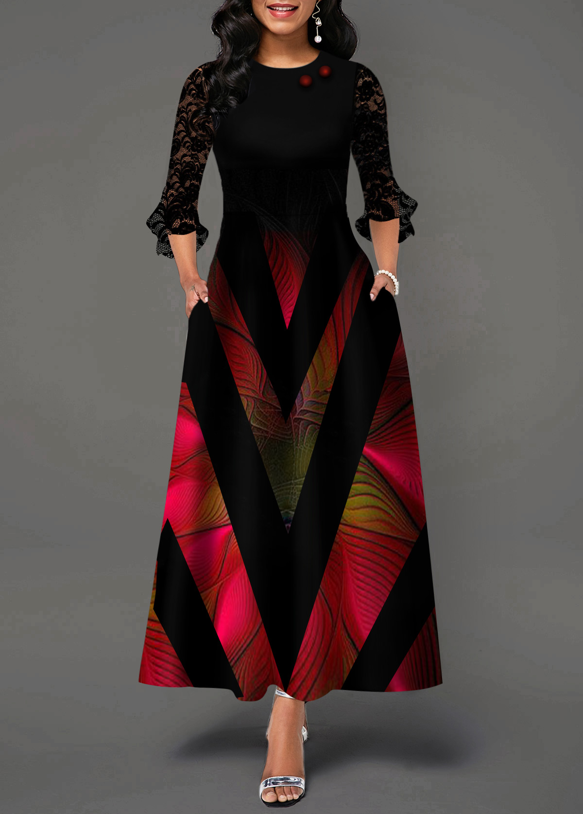 Flare Cuff Lace Panel Geometric Print Maxi Dress