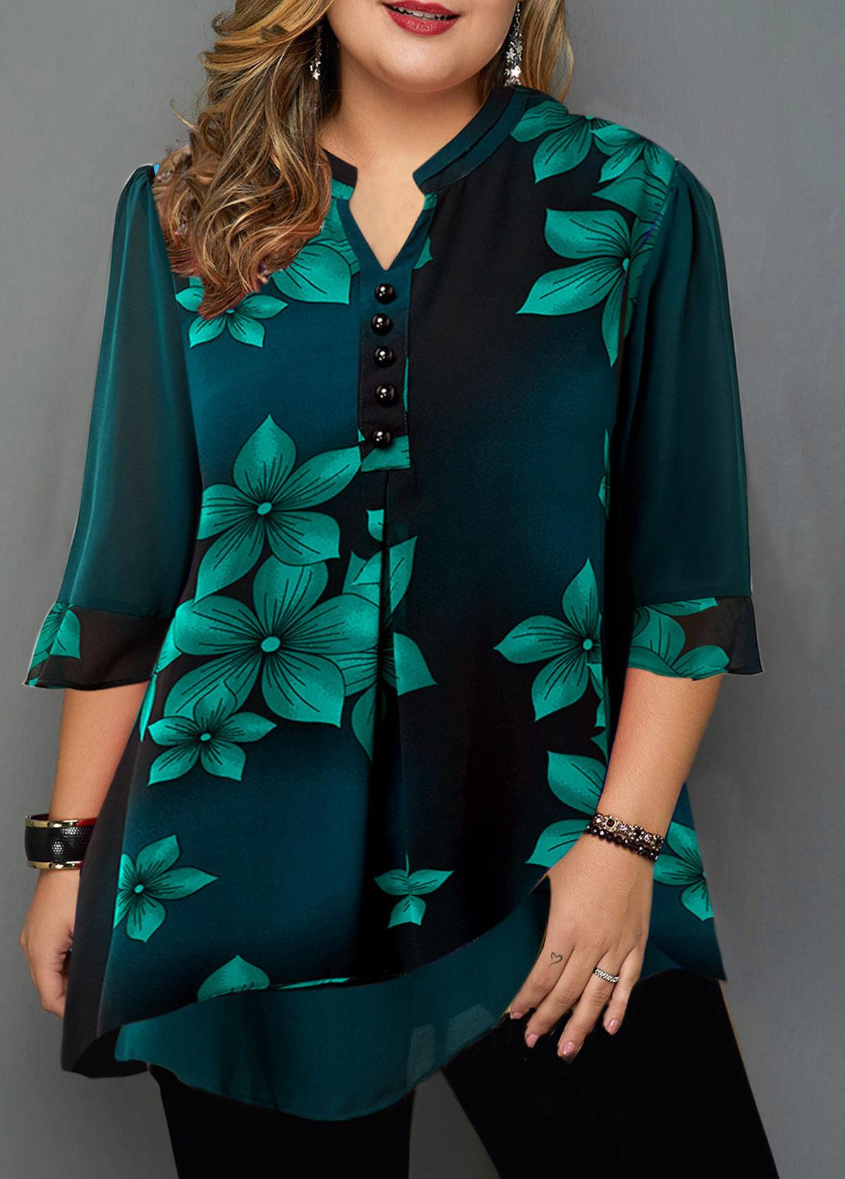 Button Detail Large Floral Print Plus Size Blouse