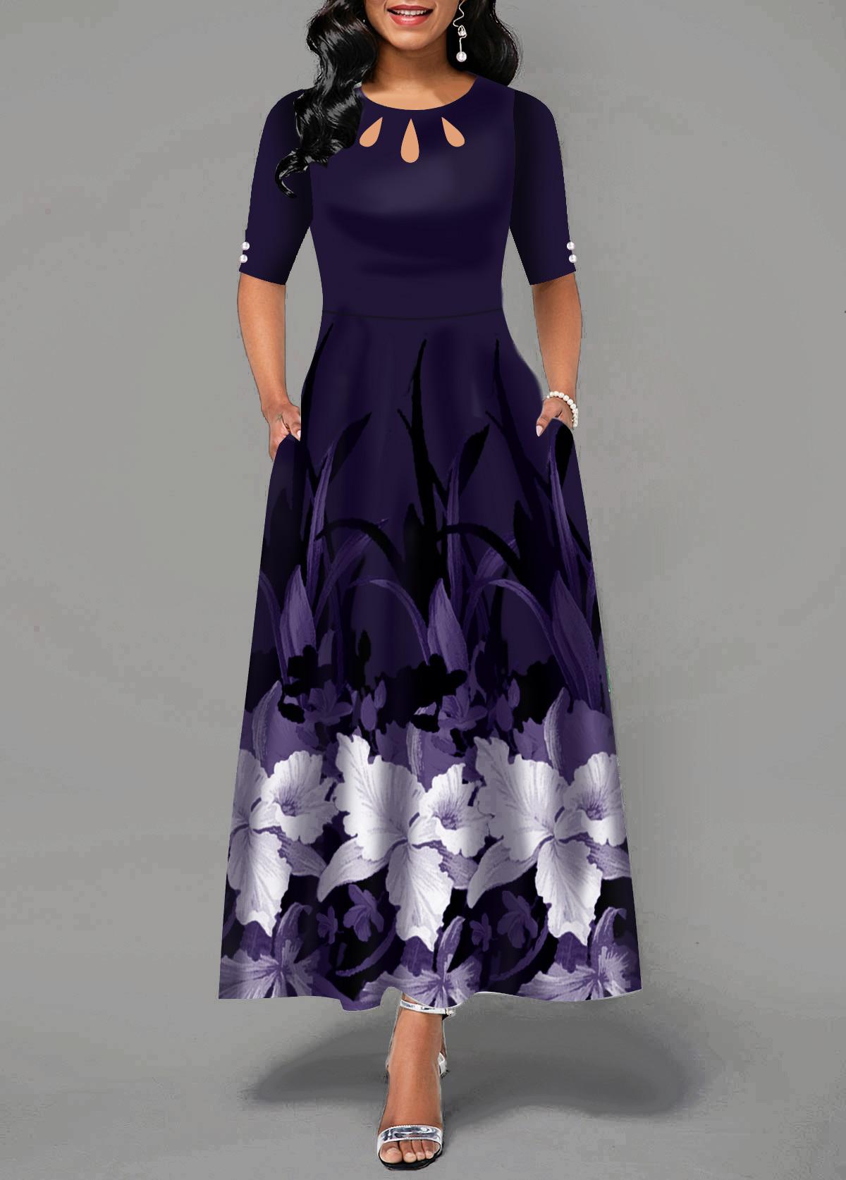 Flower Print Half Sleeve Button Detail Maxi Dress
