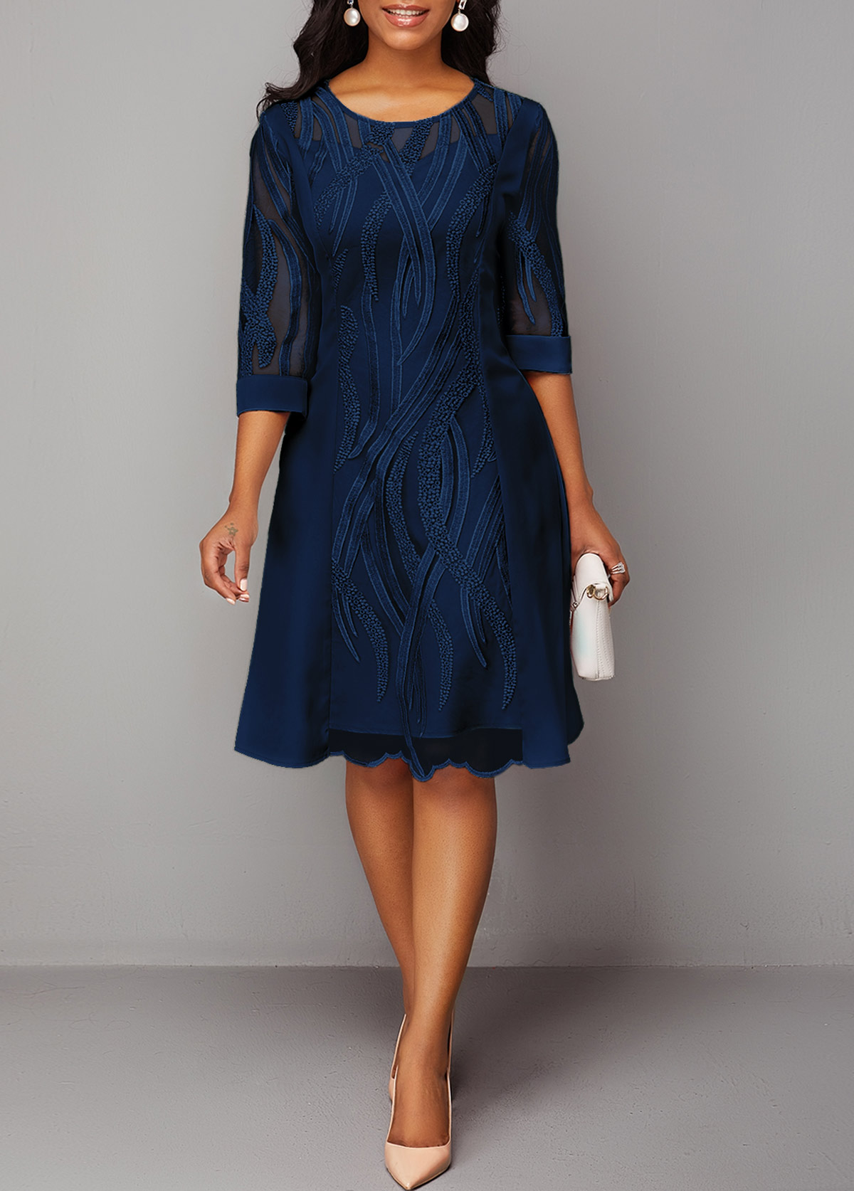 Three Quarter Sleeve Navy Blue Round Neck Lace Dress