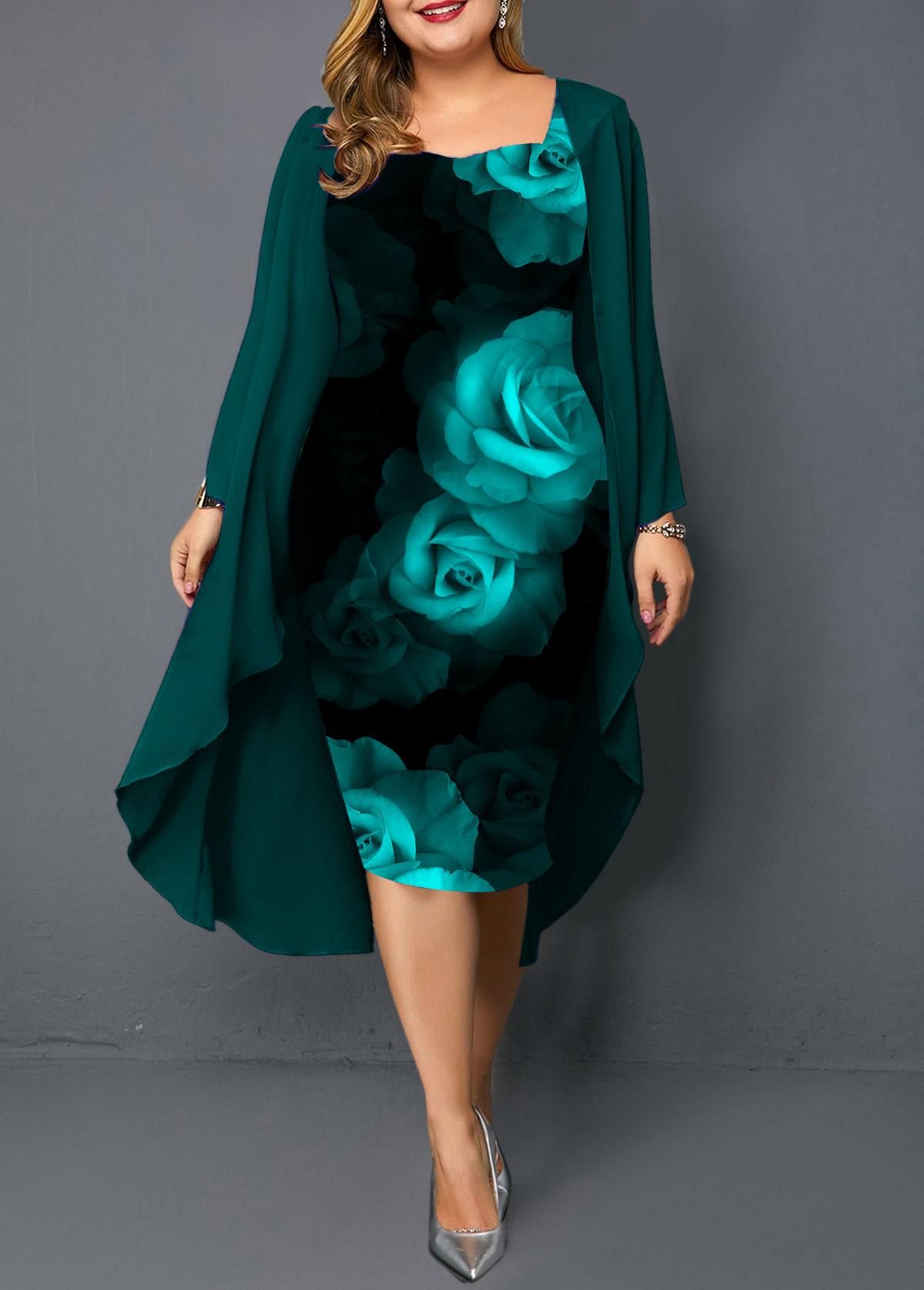 Plus Size Long Sleeve Chiffon Cardigan and Flower Print Dress