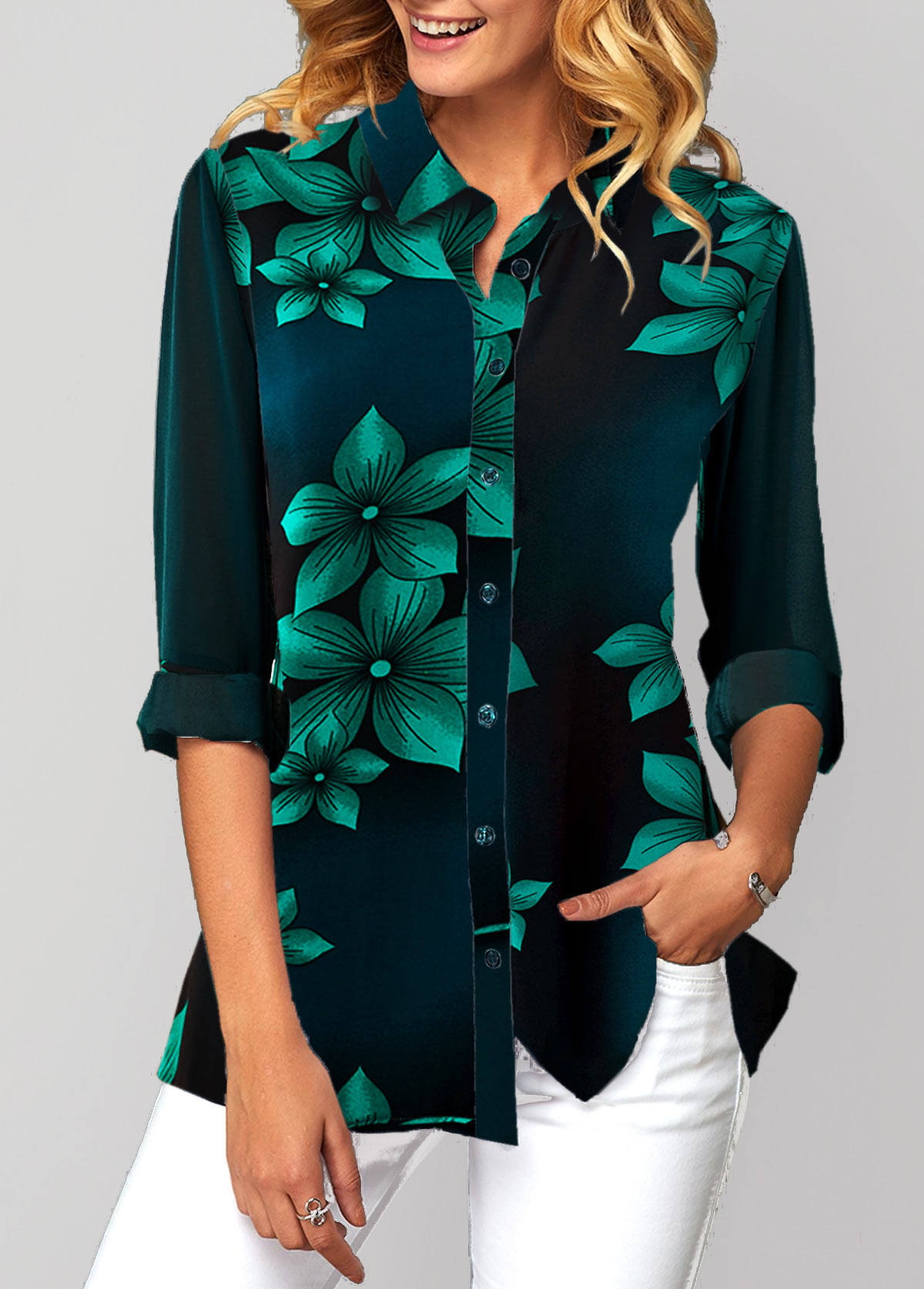 Flower Print Button Up Turndown Collar Shirt