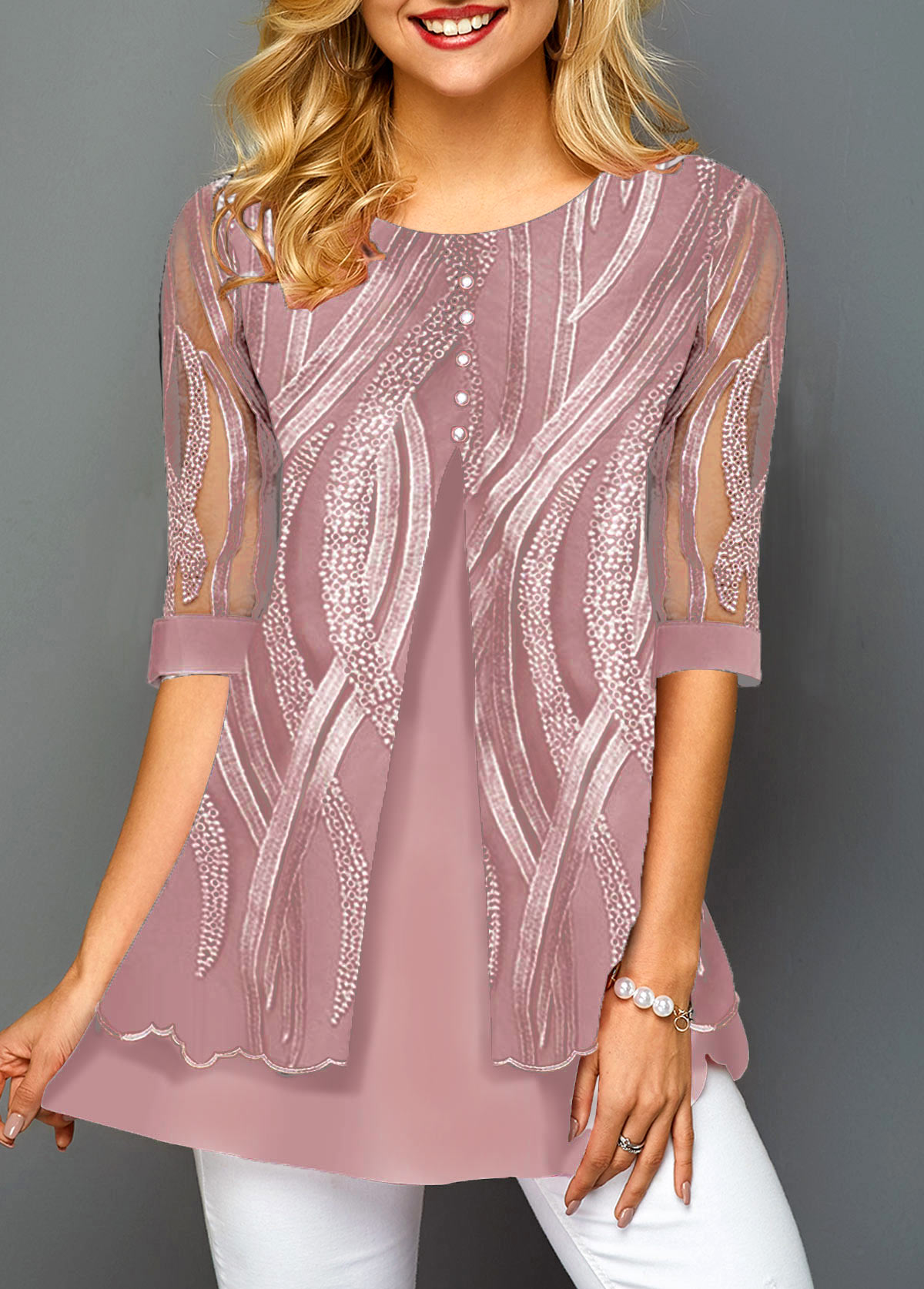 Layered Hem Lace Panel Button Detail T Shirt