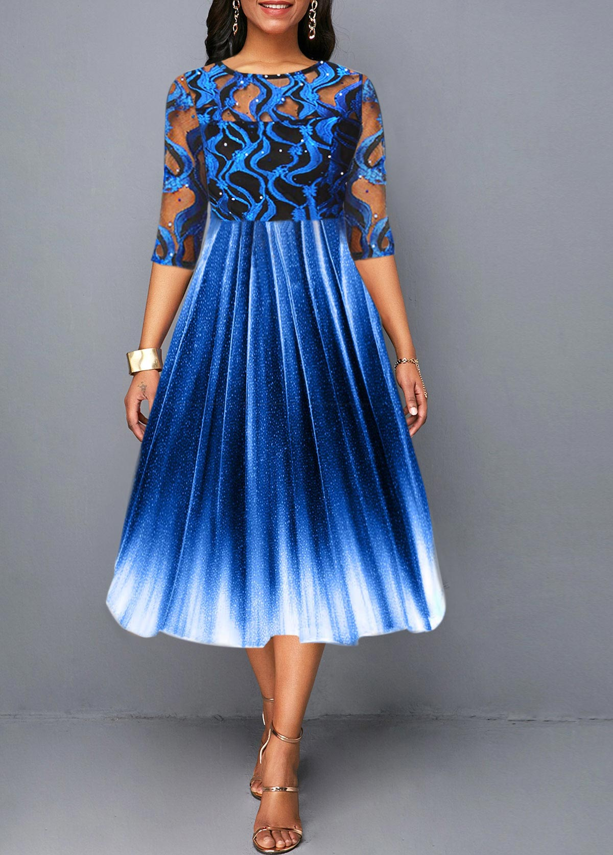 Gradient Sequin Embellished Lace Panel Dress