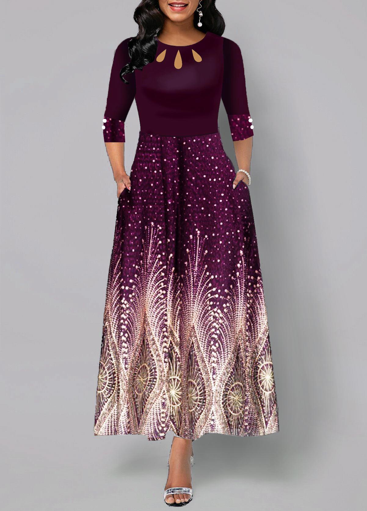 High Waist Button Detail Tribal Print Maxi Dress