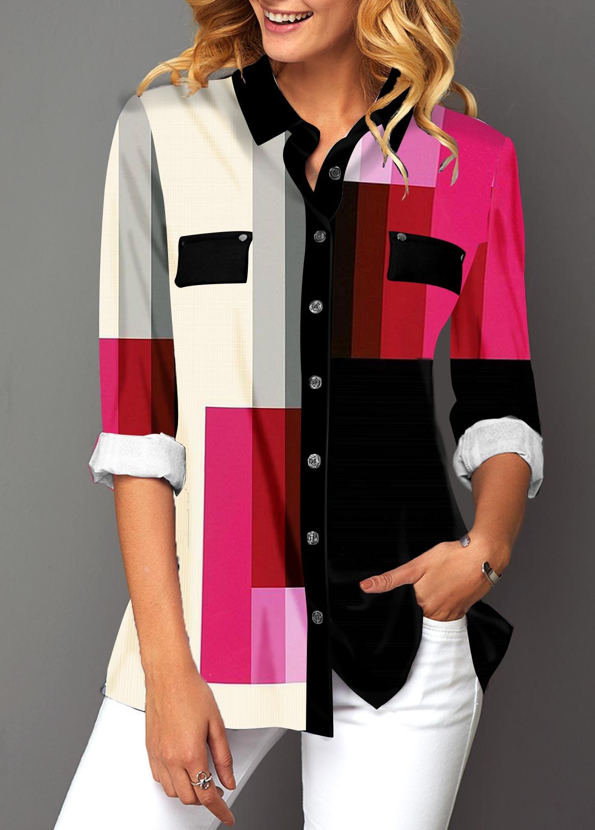 Turndown Collar Button Up Geometric Print Shirt