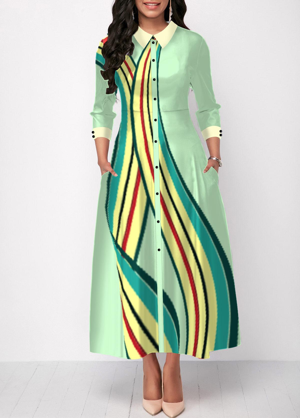 Turndown Collar Button Up Stripe Print Shirt Dress