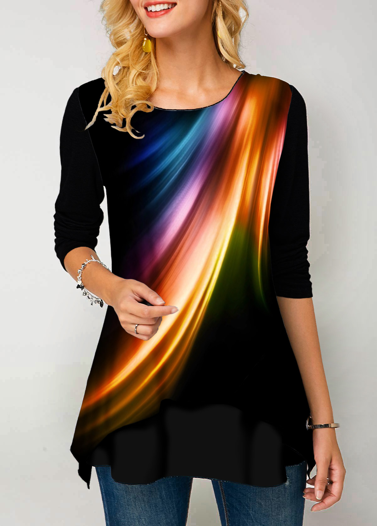 Long Sleeve Round Neck Printed T Shirt