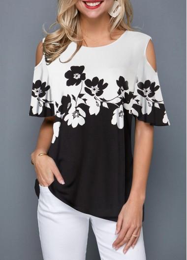 Flower Print Half Sleeve Cold Shoulder T Shirt