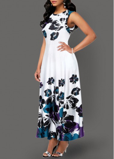 Rosewe Women Dress With Pockets White Floral Printed Midi Elegant - L