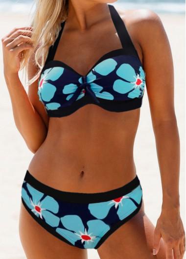 Rosewe Women Blue Halter Neck Floral Printed Bikini Swimsuit Halter Cutout Back Flower Print Bikini Set - L