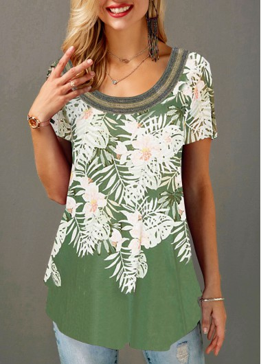 Rosewe Women T Shirt Green Short Sleeve Floral Printed Tunic - L