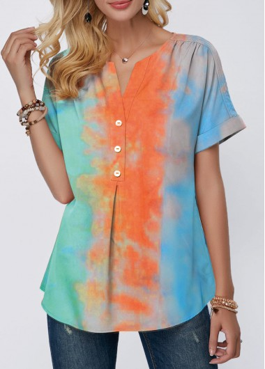 Rosewe Women T Shirt Color Block Tie Dye Short Sleeve Casual - L