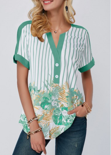 Printed Split Neck Contrast Piping Blouse