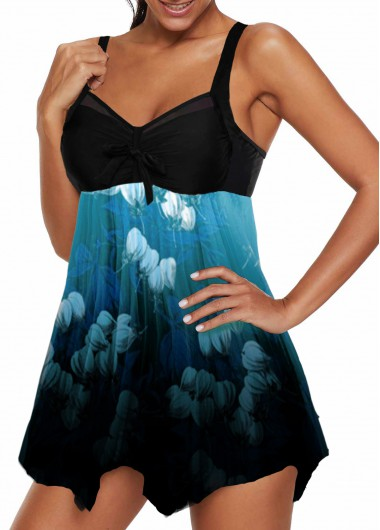 Women'S Cyan Strappy Swimdress Bathing Suit Spaghetti Strap Wire Free Padded V Neck Asymmetric Hem Bowknot Detail Print Swimsuit And Shorts - L