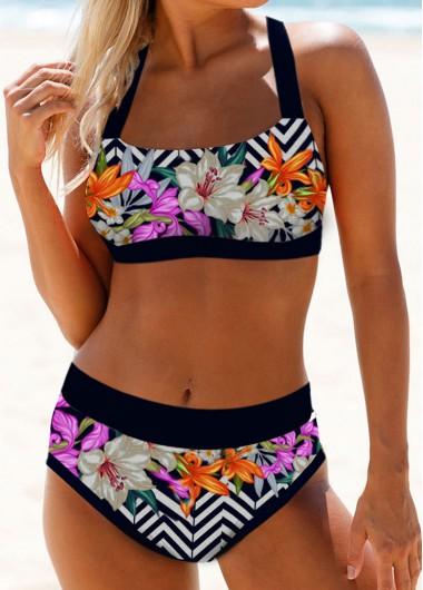 Sexy Bikinis Floral Print Tie Back High Waist Bikini Set - L