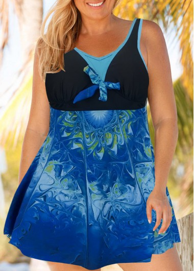 Plus Size Printed Tie Front Cutout Back Swimdress and Panty - 0X