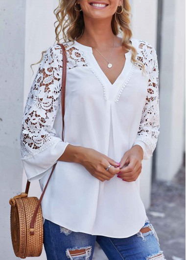Women'S White Split Neck Lace Panel Side Slit Tunic Blouse Solid Color Three Quarter Sleeve Tunic Top By Rosewe - L