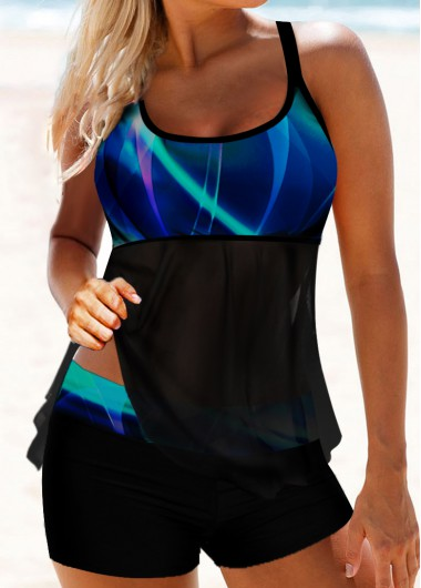Scoop Neck Psychedelic Print Strappy Back Tankini Set - L