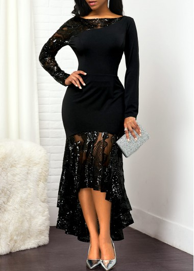 Women'S Black Lace Panel High Low Cocktail Party Dress Solid Color Long Sleeve Elegant Maxi Evening Party Dress By Rosewe - L